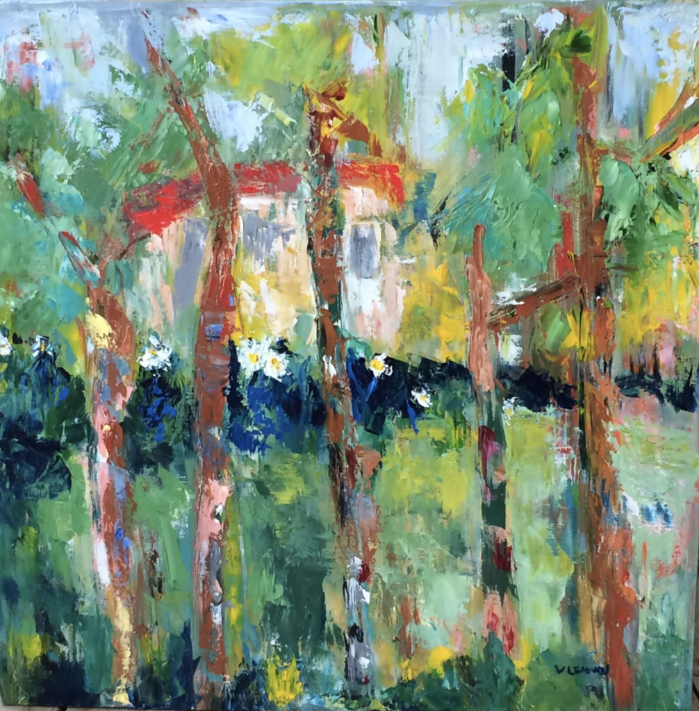 "House in the Woods <br /> 24"" x 24""  <br /> Mixed Media on Canvas, Gallery Wrapped<br /> $1,800 <br /> <a href=""/contact-purchase/?paintid=House in the Woods"">Purchase</a>"