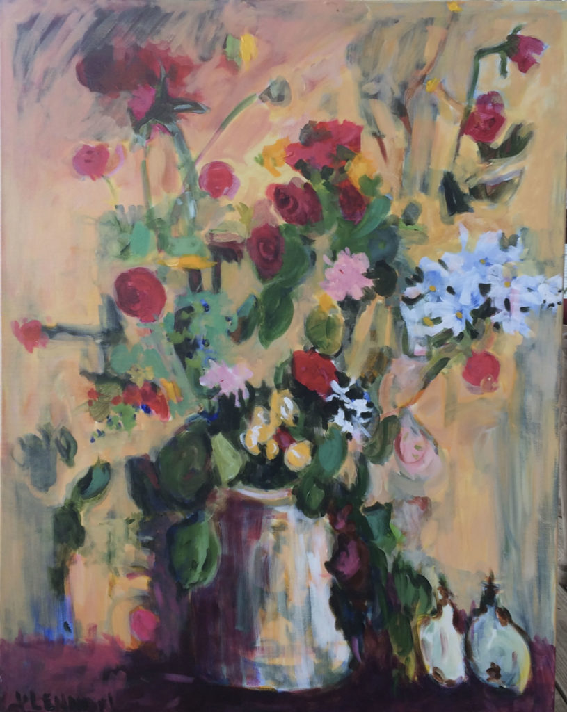 "Roses Are Red <br /> 30"" x 40""  <br /> Mixed Media on Canvas, Gallery Wrapped <br /> $2,100 <br /> <a href=""/contact-purchase/?paintid=Roses Are Red"">Purchase</a>"