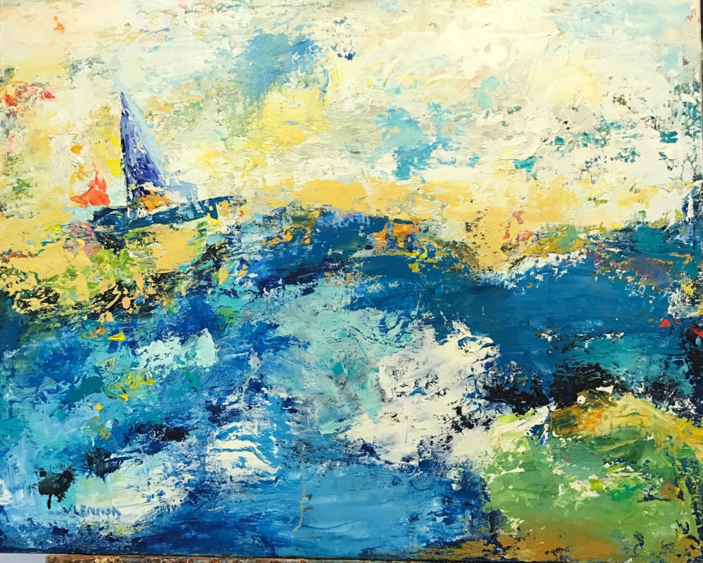 "Sail Away <br /> 30"" x 24""  <br /> Mixed Media on Canvas, Gallery Wrapped <br /> $2,400 <br /> <a href=""/contact-purchase/?paintid=Sail Away"">Purchase</a>"