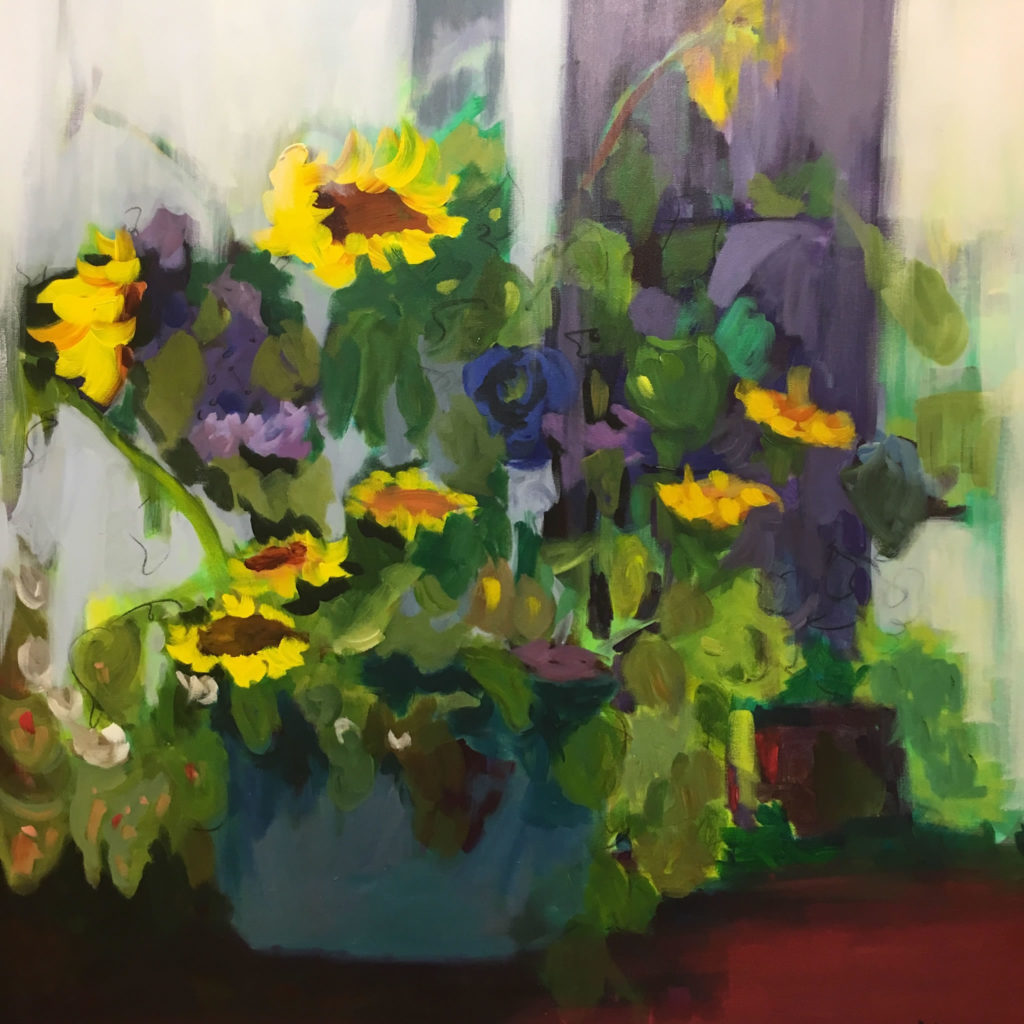 "Simply Sunflowers <br /> 36"" x 36""  <br /> Mixed Media on Canvas, Gallery Wrapped <br /> $2,100 <br /> <a href=""/contact-purchase/?paintid=Simply Sunflowers"">Purchase</a>"