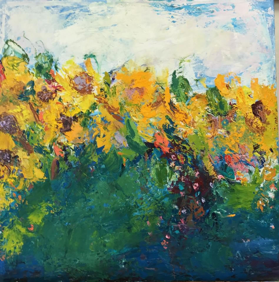 "Sunflowers <br /> 24"" x 24""  <br /> Mixed Media on Canvas, Gallery Wrapped <br /> $1,800 <br /> <a href=""/contact-purchase/?paintid=Sunflowers"">Purchase</a>"