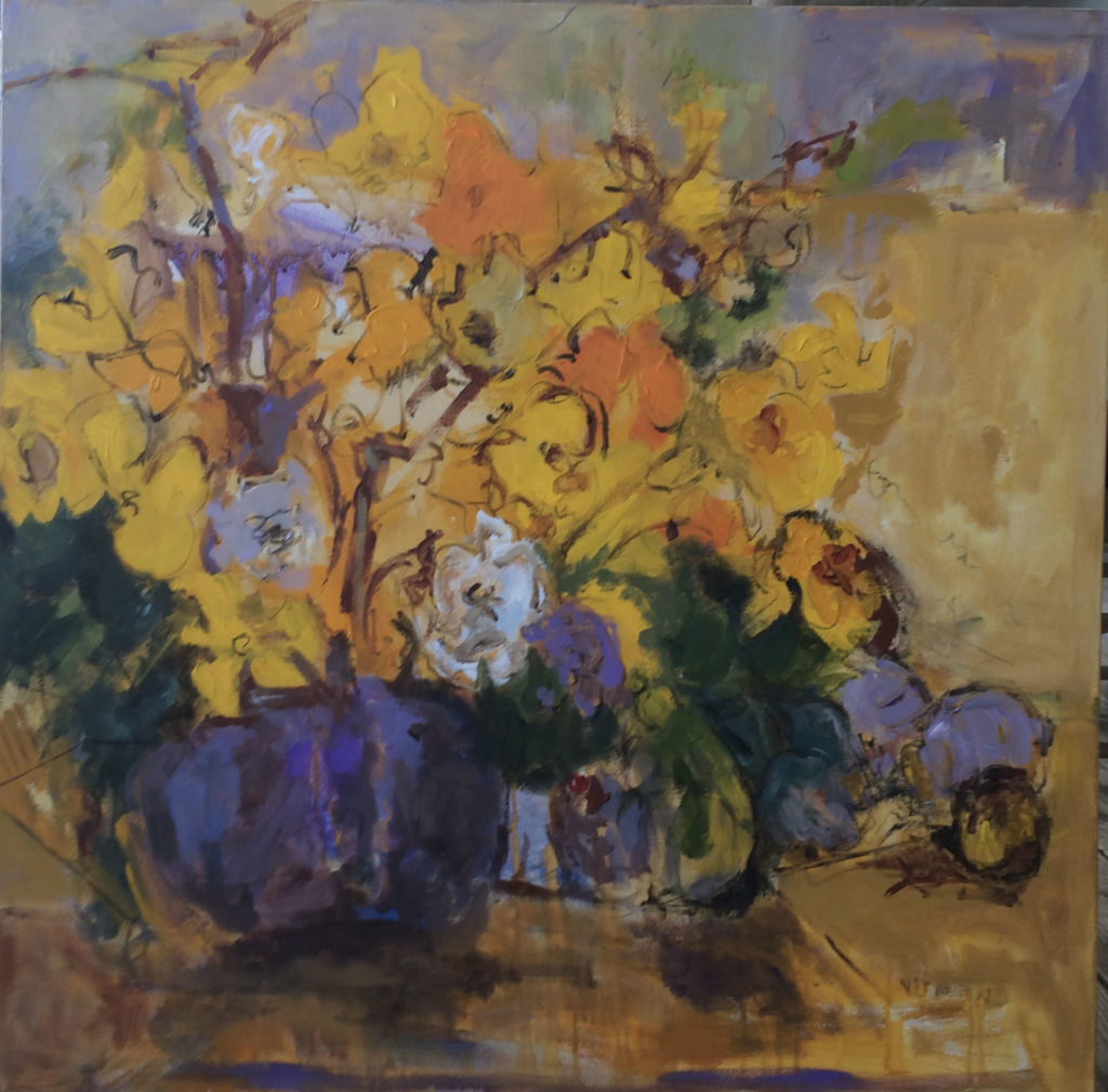 "Yellow Flowers <br /> 36"" x 36""  <br /> Mixed Media on Canvas, Gallery Wrapped <br /> $2,100 <br /> <a href=""/contact-purchase/?paintid=Yellow Flowers"">Purchase</a>"