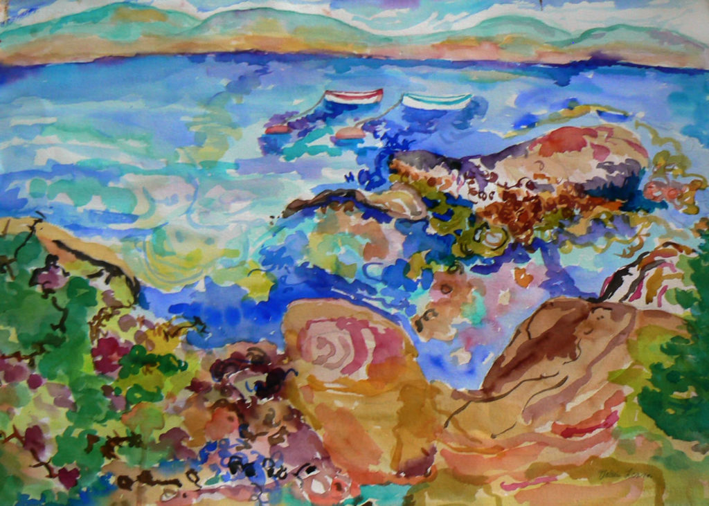 "Bakers Island Looking at Cranberry Island <br /> 30"" x 22""  <br /> Watercolor <br /> $495 <br /> <a href=""/contact-purchase/?paintid=Bakers Island"">Purchase</a>"