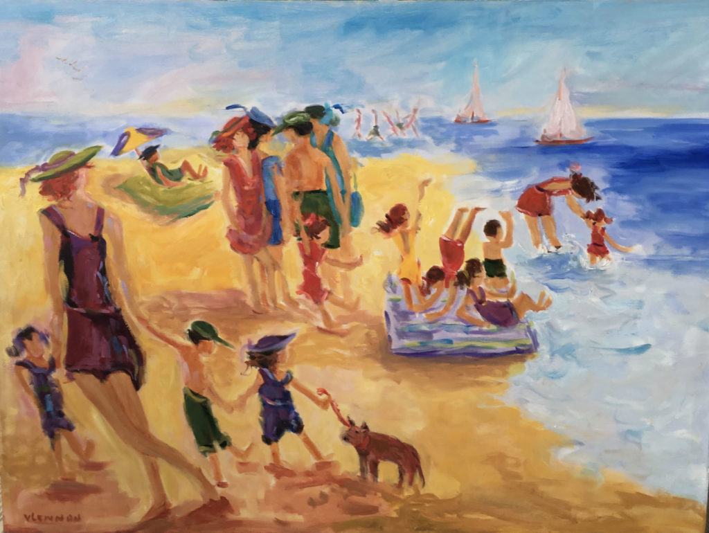 "Beach Play <br /> 40"" x 30""  <br /> Mixed Media on Canvas, Gallery Wrapped<br /> $2,400 <br /> <a href=""/contact-purchase/?paintid=Beach Play"">Purchase</a>"