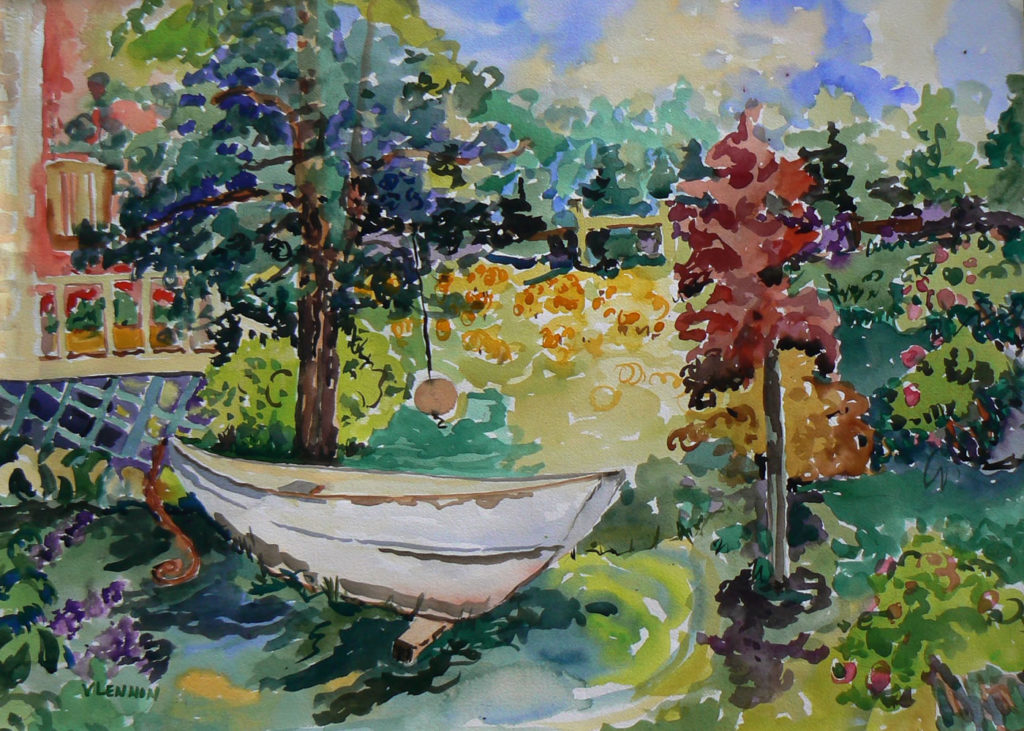 "Boat in My Yard <br /> 30"" x 22""  <br /> Watercolor <br /> $495 <br /> <a href=""/contact-purchase/?paintid=Boat in my Yard"">Purchase</a>"