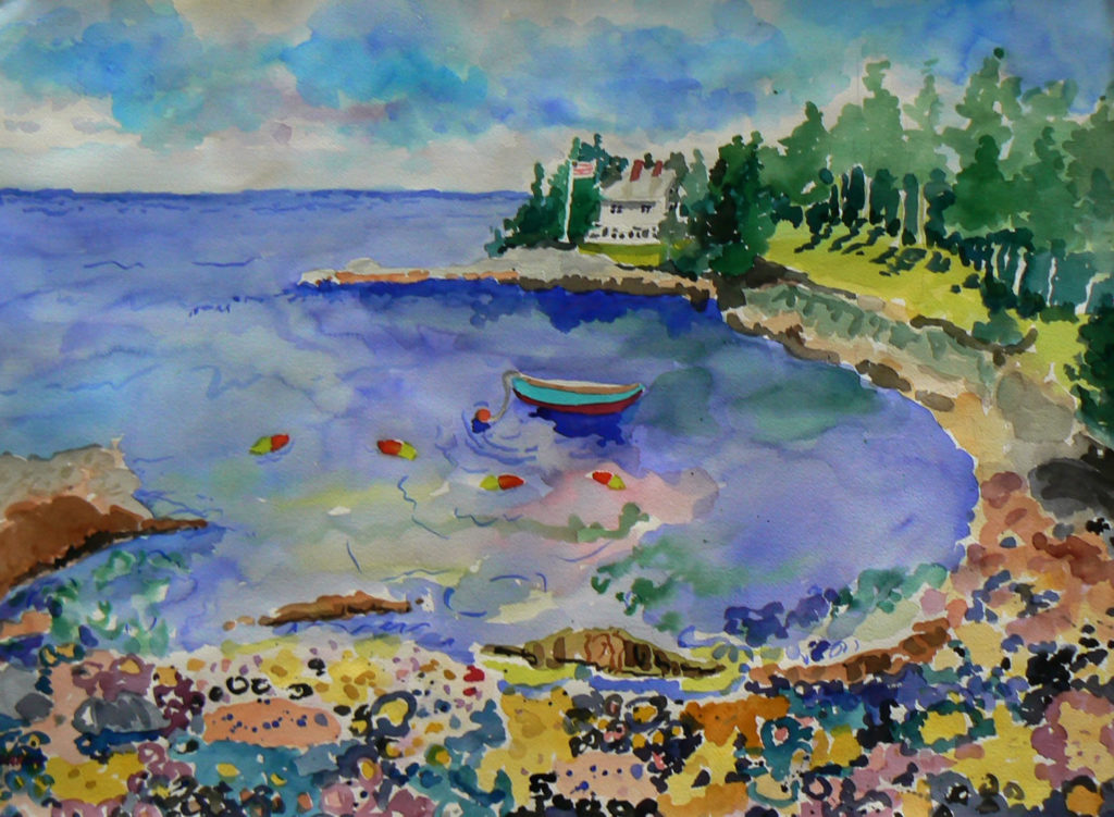 "Bunker Cove View <br /> 30"" x 22""  <br /> Watercolor <br /> $495 <br /> <a href=""/contact-purchase/?paintid=Bunker Cove View"">Purchase</a>"