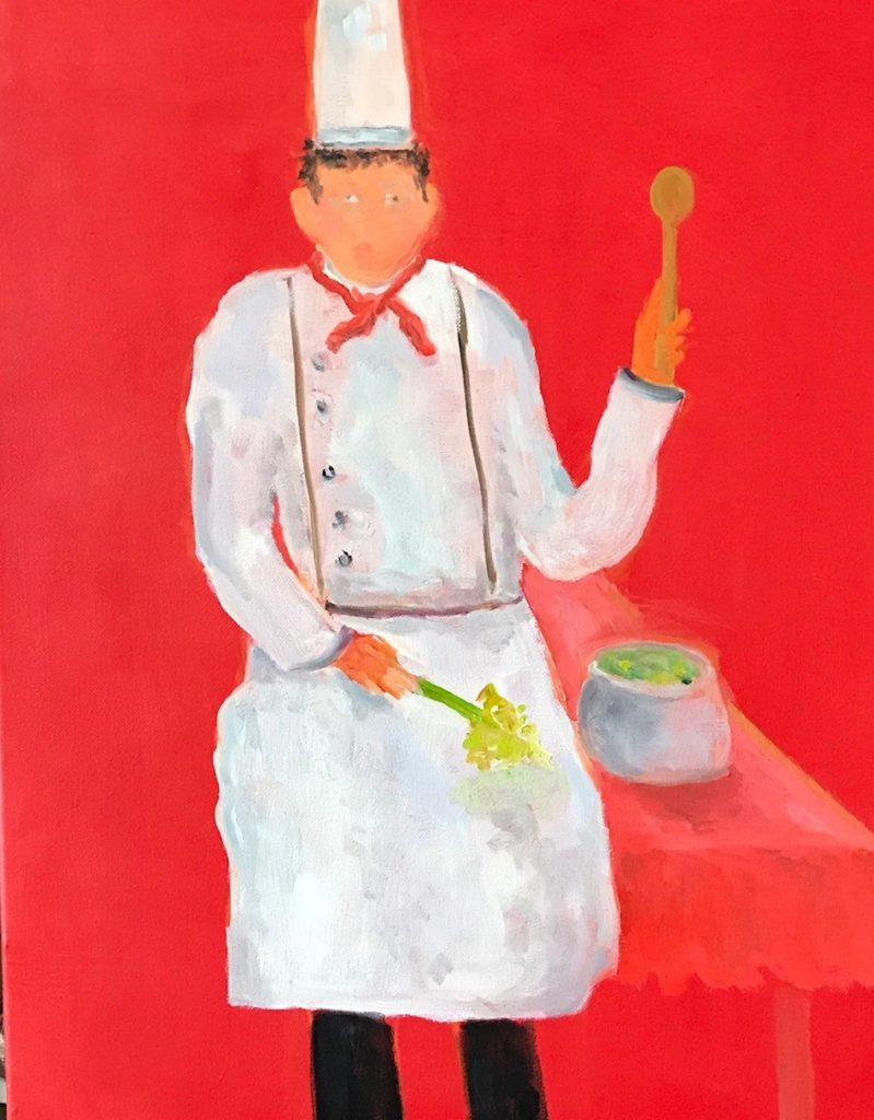 "Celery Soup<br /> 18"" x 24""  <br /> Oil on Canvas, Gallery Wrapped <br /> $1100 <br /> <a"