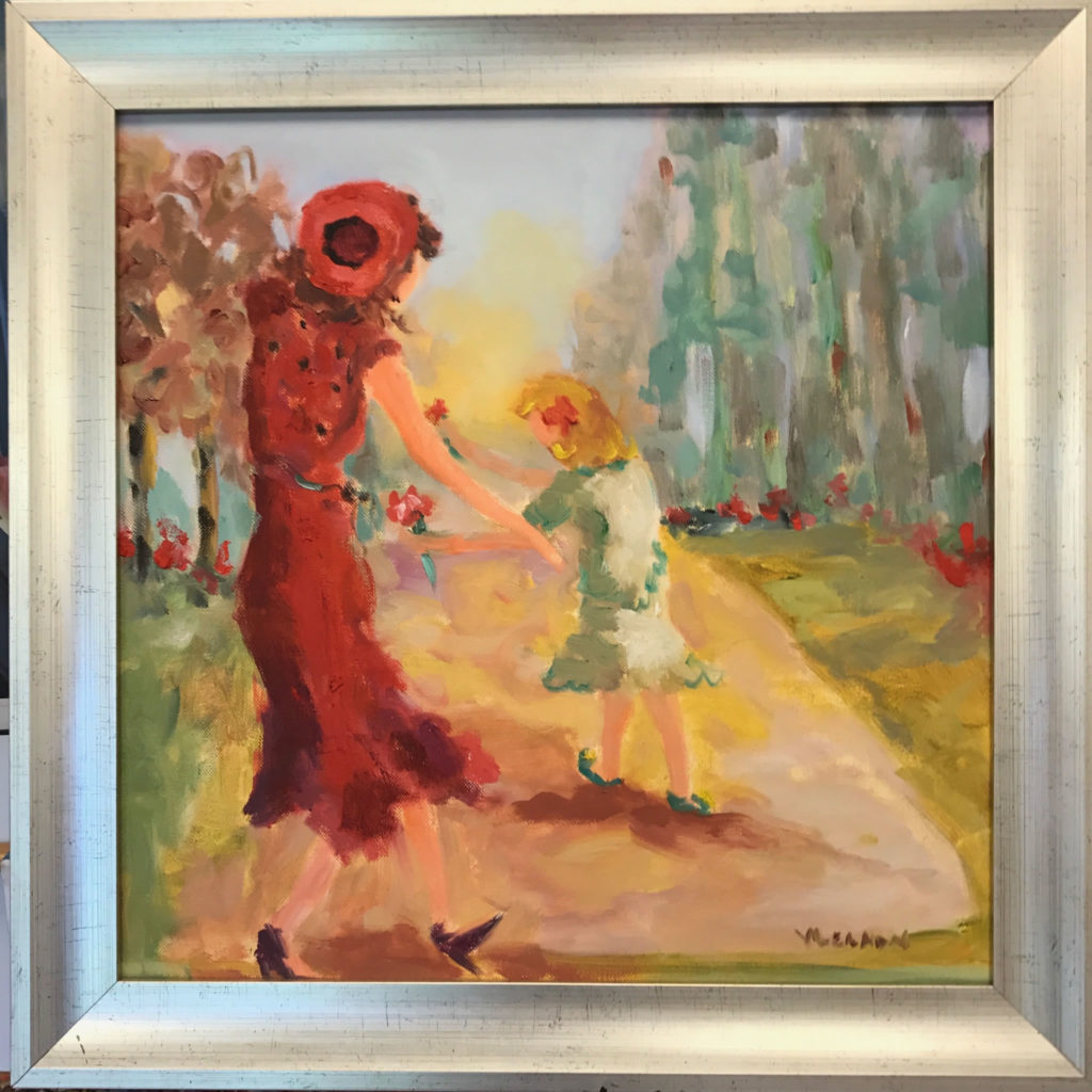 """Cherish Her <br /> 18"""" x 18""""  <br /> Mixed Media on Canvas, Framed <br /> $1,800 <br /> <a href=""""/contact-purchase/?paintid=Cherish Her"""">Purchase</a>"""