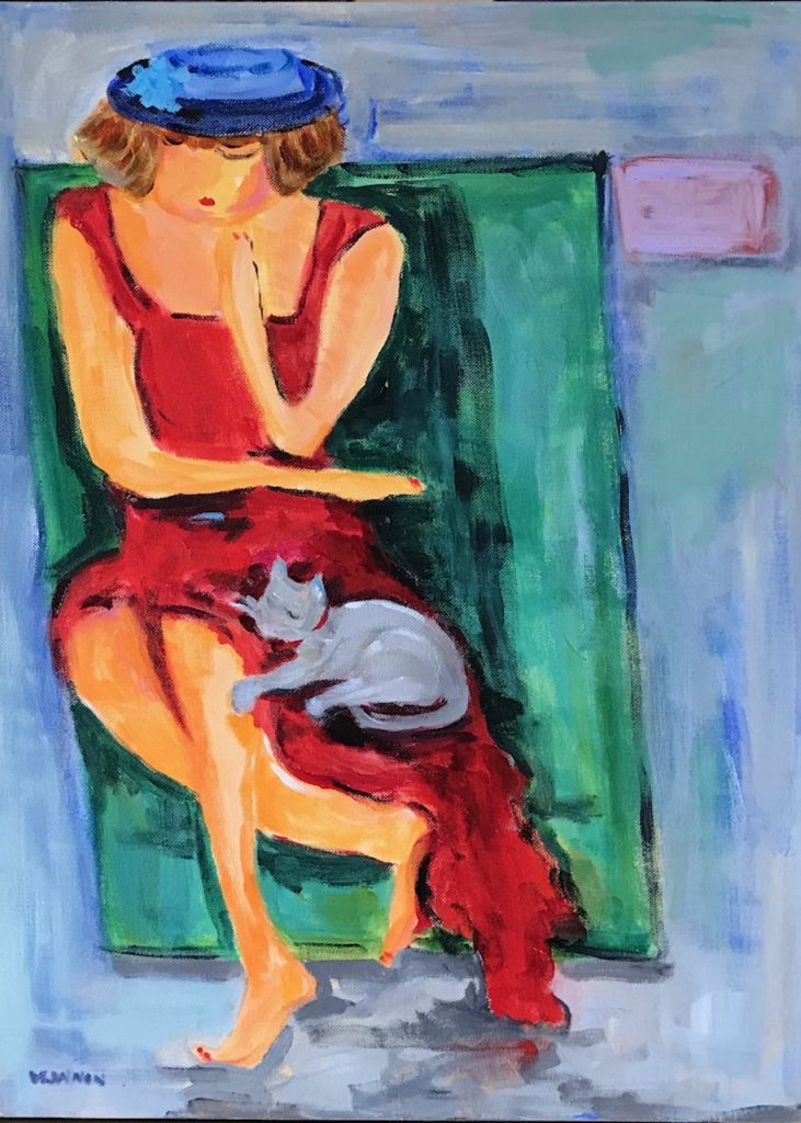 "Isabell and Miss Kitty <br /> 18"" x 24""  <br /> Oil on Canvas, Gallery Wrapped <br /> $900 <br /> <a"