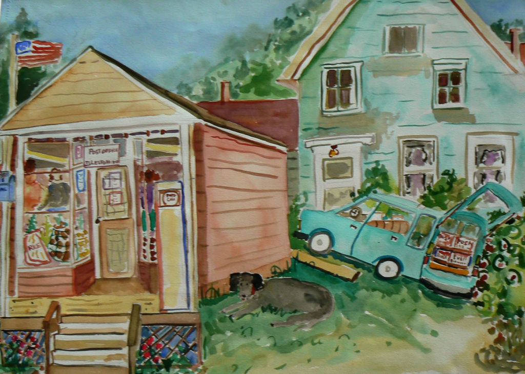 "Islesford Grocery Store <br /> 30"" x 22""  <br /> Watercolor <br /> $495 <br /> <a href=""/contact-purchase/?paintid=Islesford Grocery Store"">Purchase</a>"