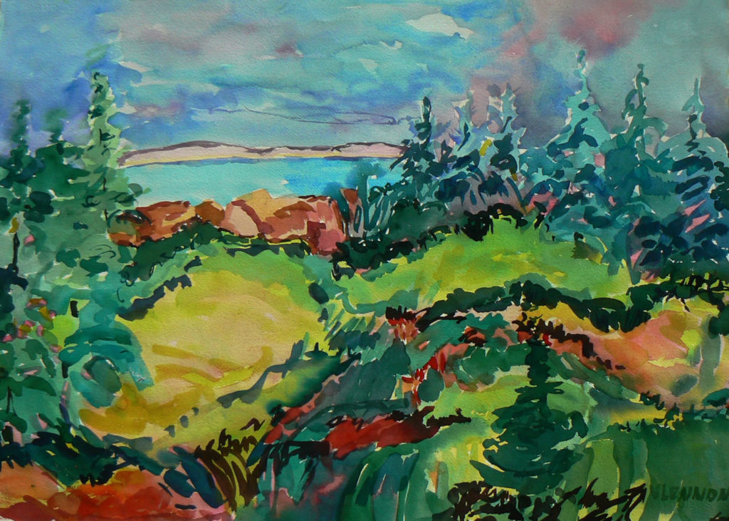 "Lake View <br /> 30"" x 22""  <br /> Watercolor <br /> $495 <br /> <a href=""/contact-purchase/?paintid=Lake View"">Purchase</a>"
