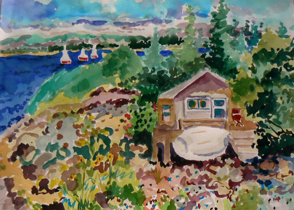 "Looking at Sutton Island <br /> 30"" x 22""  <br /> Watercolor <br /> $495 <br /> <a href=""/contact-purchase/?paintid=Looking at Sutton Island"">Purchase</a>"