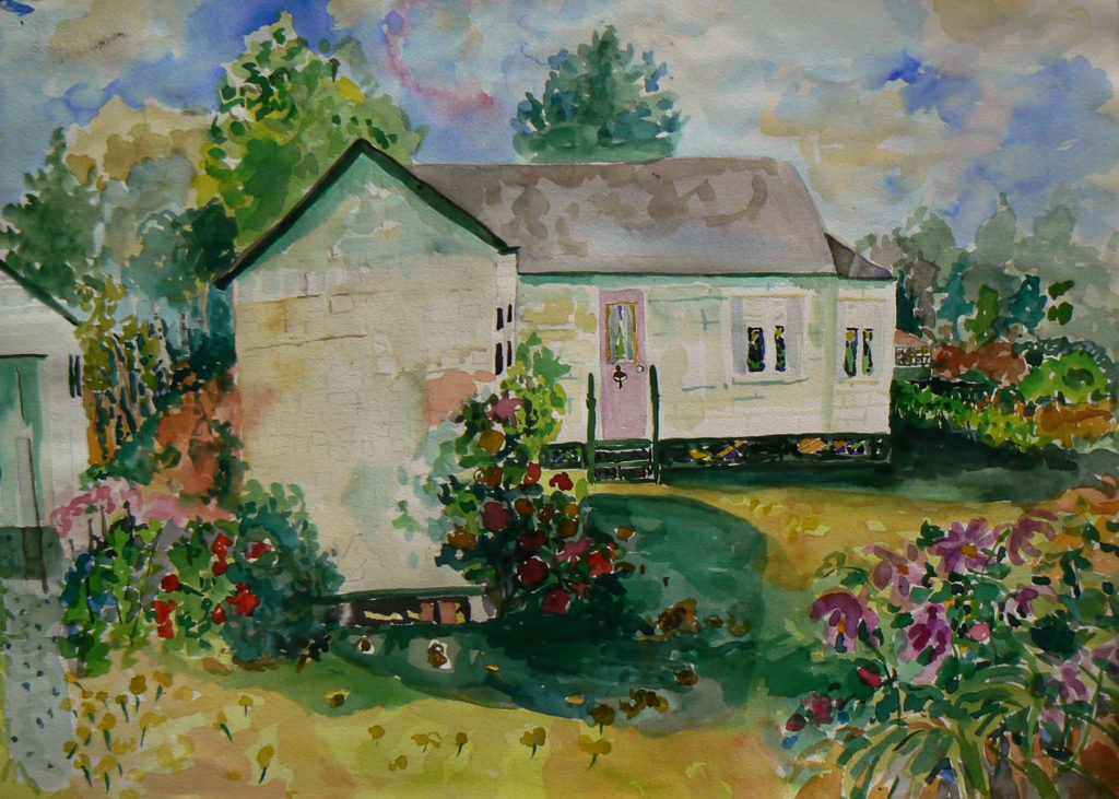 "Nellie's House <br /> 30"" x 22""  <br /> Watercolor <br /> $495 <br /> <a href=""/contact-purchase/?paintid=Nellie's House"">Purchase</a>"