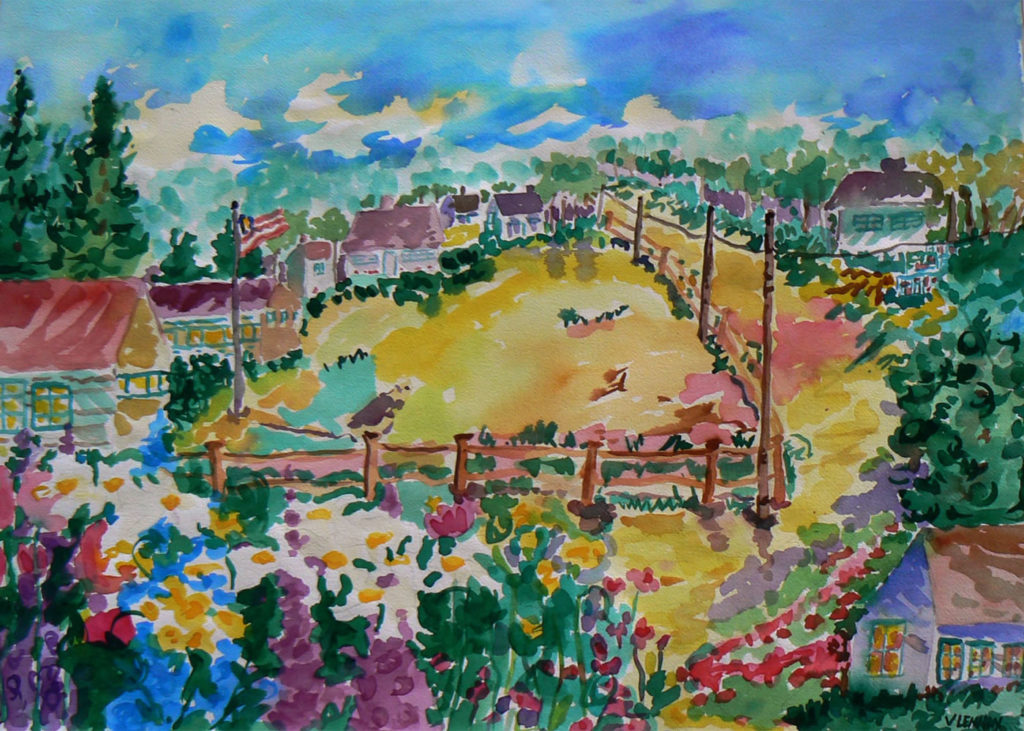 "Path to Edie's House <br /> 30"" x 22""  <br /> Watercolor <br /> $495 <br /> <a href=""/contact-purchase/?paintid=Path to Edie's House"">Purchase</a>"