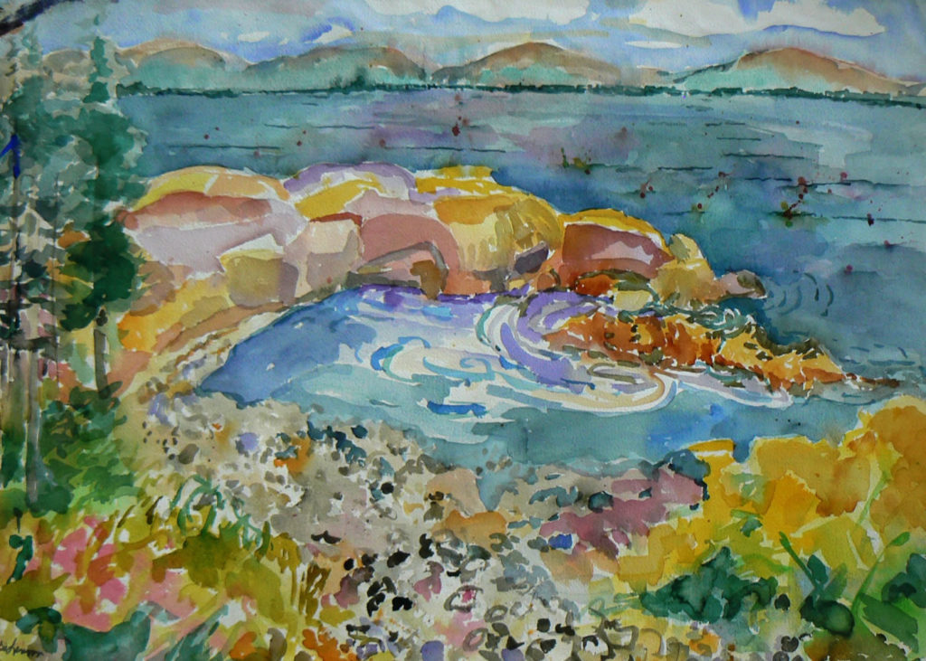 "Pebble Cove <br /> 30"" x 22""  <br /> Watercolor <br /> $495 <br /> <a href=""/contact-purchase/?paintid=Pebble Cove"">Purchase</a>"