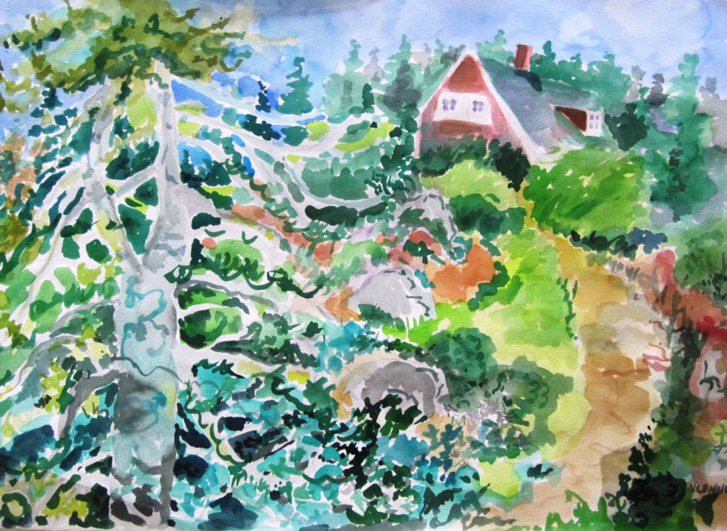 "Summer Home <br /> 30"" x 22""  <br /> Watercolor <br /> $495 <br /> <a href=""/contact-purchase/?paintid=Summer Home"">Purchase</a>"