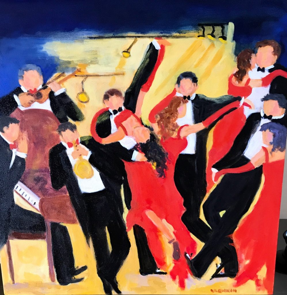 """The Dance <br /> 24"""" x 24""""  <br /> Oil on Canvas, Gallery Wrapped <br /> $1800 <br /> <a"""