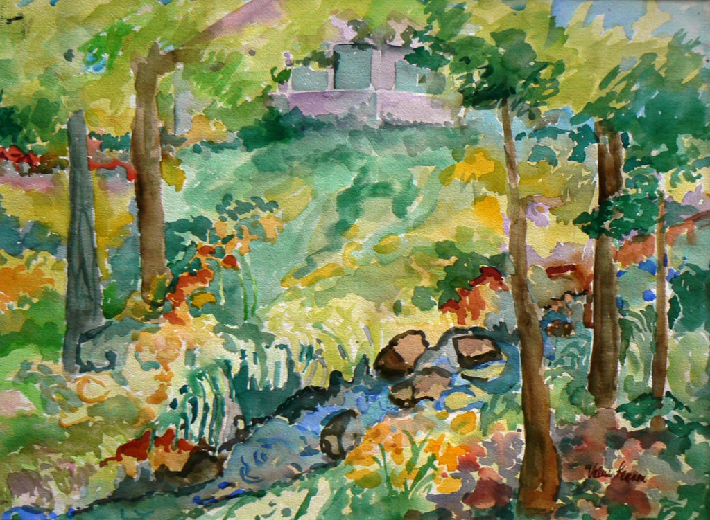 "View from Edie's Pond <br /> 30"" x 22""  <br /> Watercolor <br /> $495 <br /> <a href=""/contact-purchase/?paintid=View from Edie's Pond"">Purchase</a>"