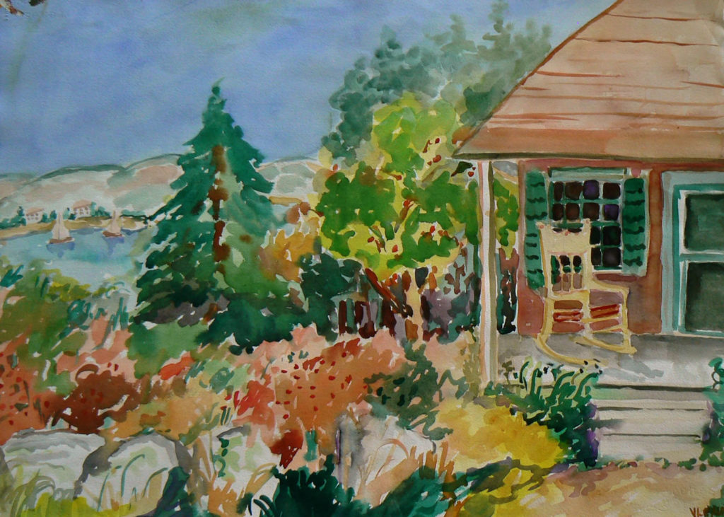 "View from the Maypole <br /> 30"" x 22""  <br /> Watercolor <br /> $495 <br /> <a href=""/contact-purchase/?paintid=View from the Maypole"">Purchase</a>"