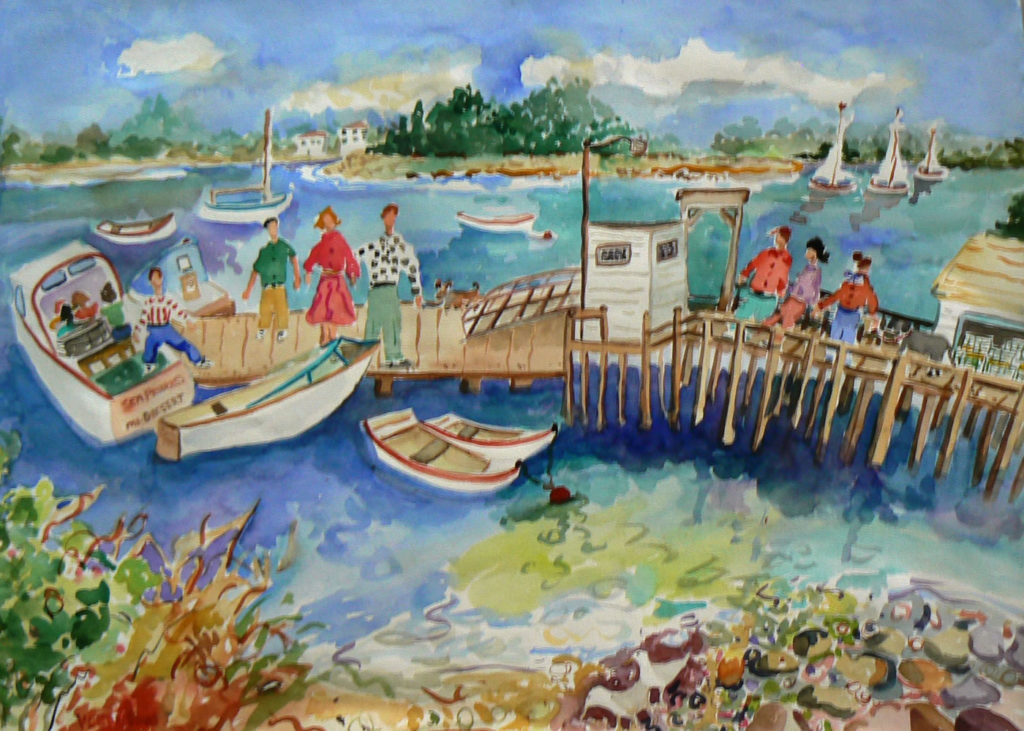 "Visiting Little Cranberry Island <br /> 30"" x 22""  <br /> Watercolor <br /> $495 <br /> <a href=""/contact-purchase/?paintid=Visiting Little Cranberry Island"">Purchase</a>"