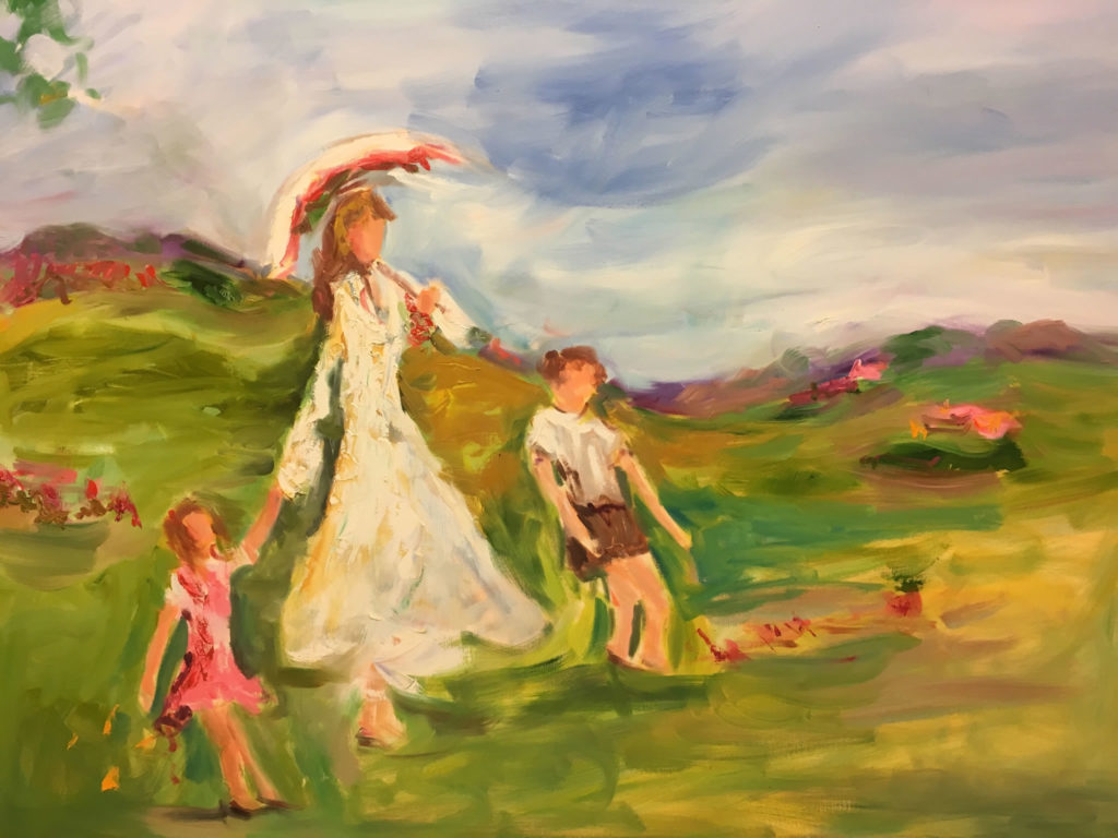"""Afternoon Stroll <br /> 40"""" x 30""""  <br /> Mixed Media on Canvas, Gallery Wrapped <br /> $2,300 <br /> <a href=""""/contact-purchase/?paintid=Afternoon Stroll"""">Purchase</a>"""