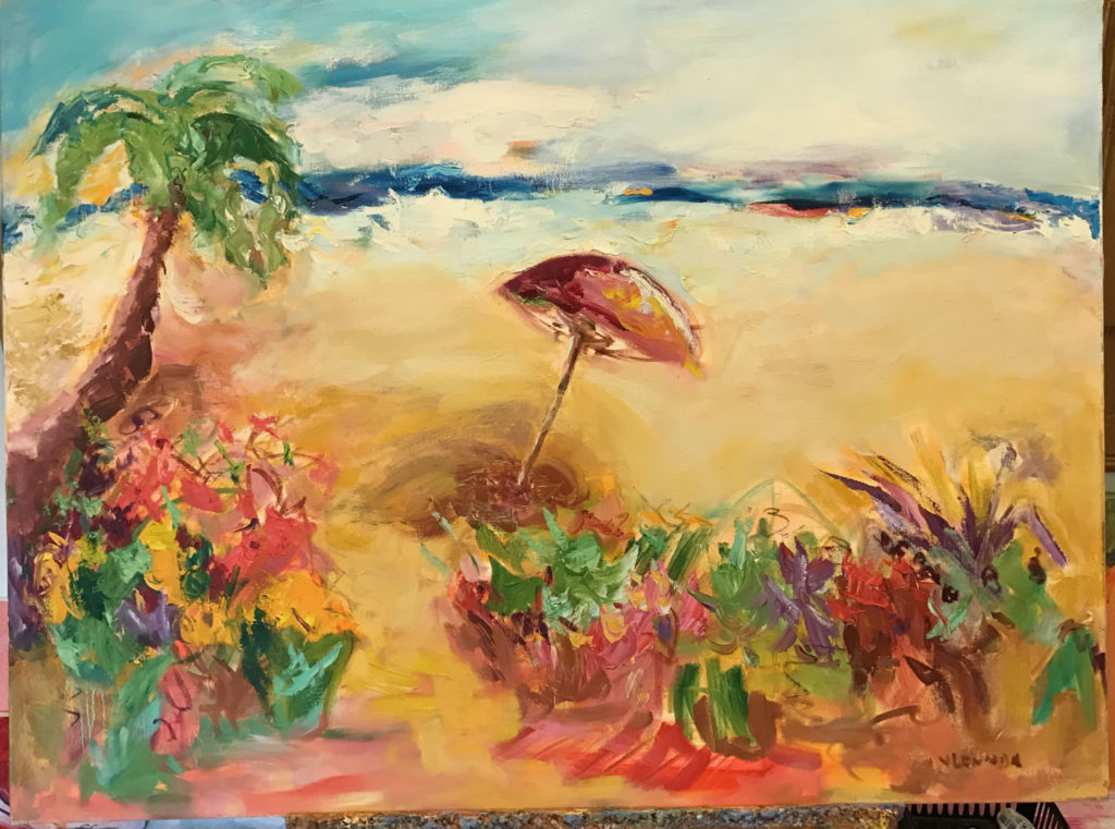 "Beach Umbrella <br /> 40"" x 30""  <br /> Mixed Media on Canvas, Gallery Wrapped <br /> $2,900 <br /> <a href=""/contact-purchase/?paintid=Beach Umbrella"">Purchase</a>"