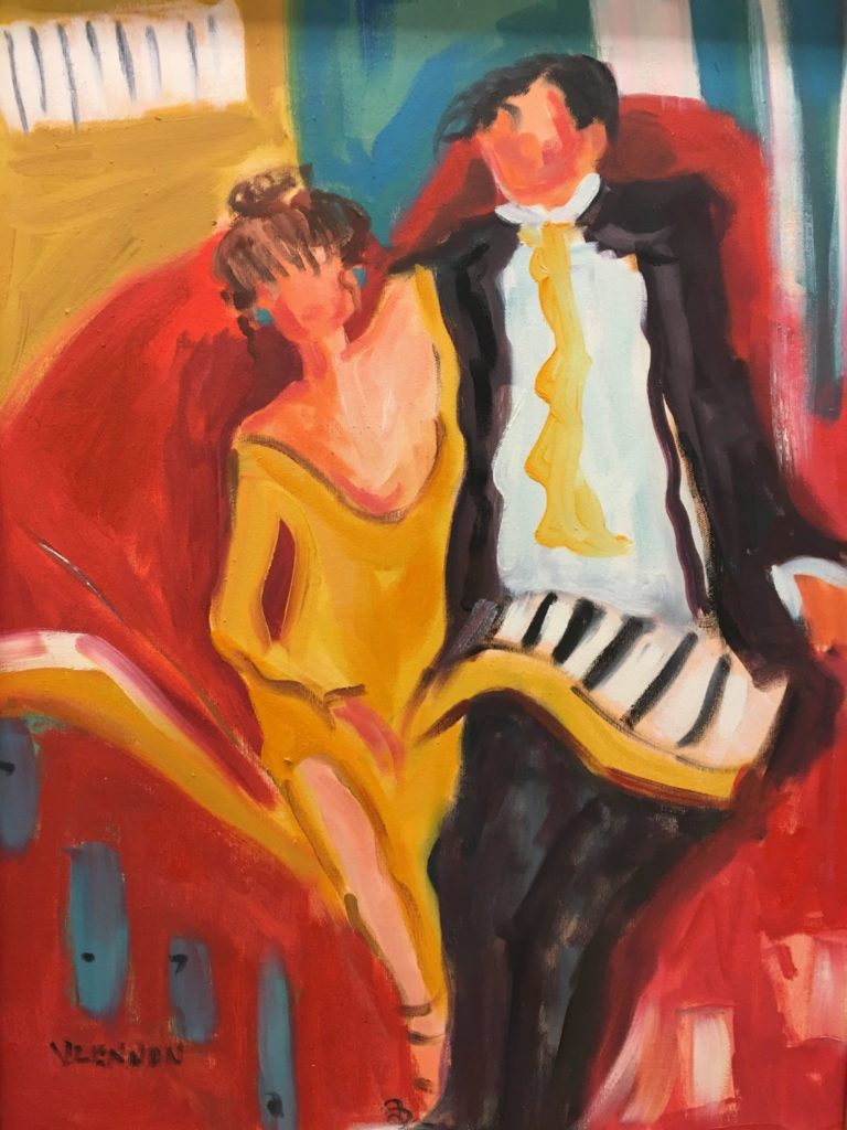 """Dance by the Light <br /> 18"""" x 24""""  <br /> Mixed Media on Canvas, Gallery Wrapped <br /> $900 <br /> <a href=""""/contact-purchase/?paintid=Dance by the Light"""">Purchase</a>"""