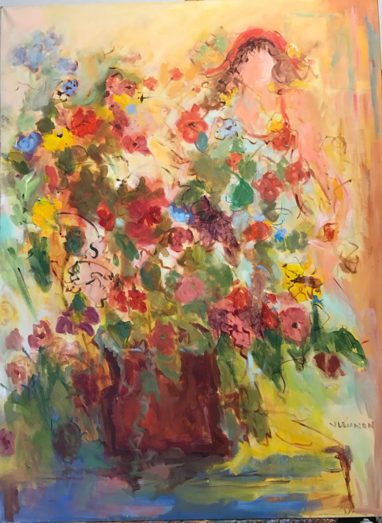 "Flower Girl <br /> 36"" x 48""  <br /> Mixed Media on Canvas, Gallery Wrapped <br /> $3,100 <br /> <a href=""/contact-purchase/?paintid=Flower Girl"">Purchase</a>"