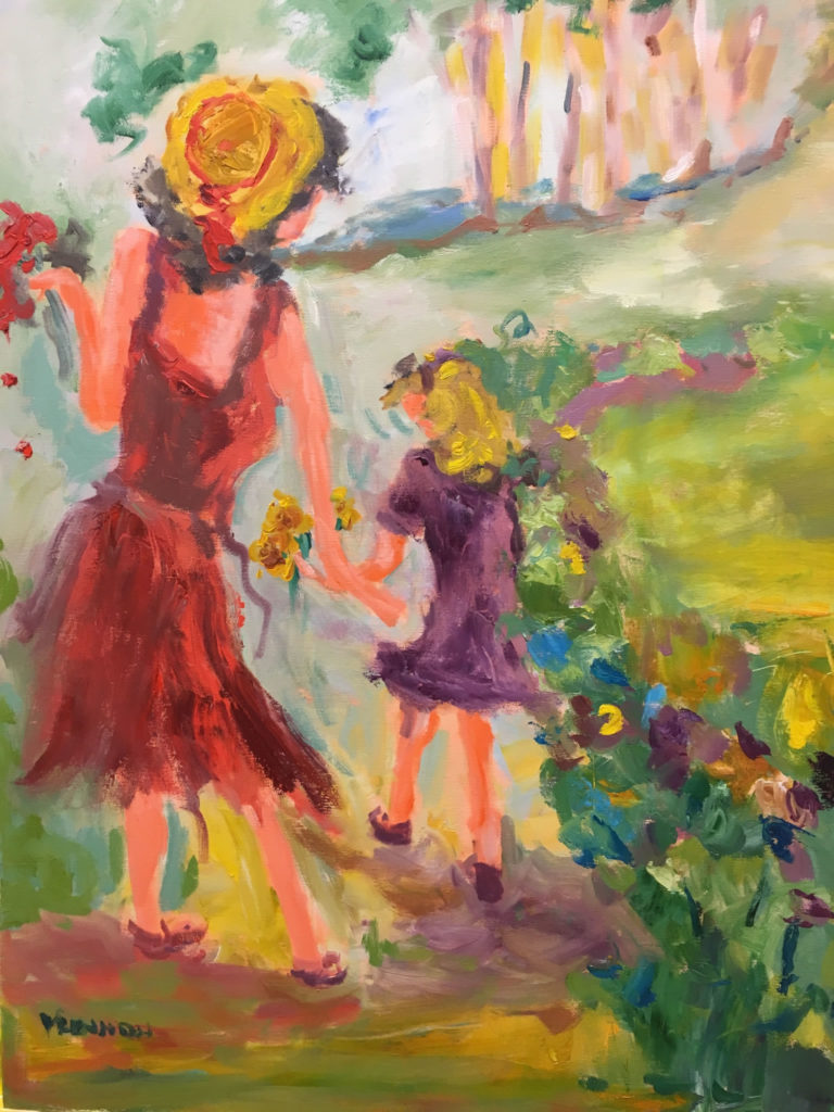 """Gathering Flowers <br /> 24"""" x 30""""  <br /> Mixed Media on Canvas, Gallery Wrapped <br /> $1,600 <br /> <a href=""""/contact-purchase/?paintid=Gathering Flowers"""">Purchase</a>"""