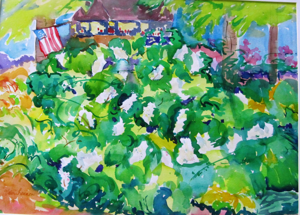 "Hydrangea Garden <br /> 30"" x 22""  <br /> Watercolor <br /> $495 <br /> <a href=""/contact-purchase/?paintid=Hydrangea Garden"">Purchase</a>"