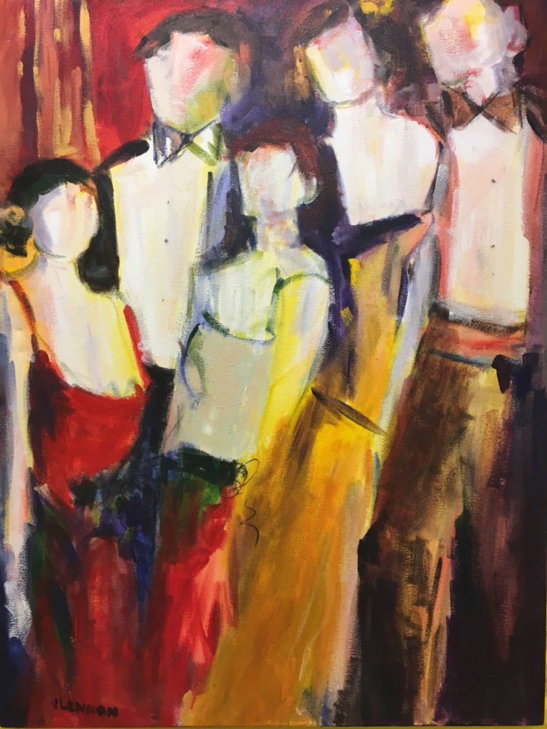 """Merriment <br /> 48"""" x 36""""  <br /> Mixed Media on Canvas, Gallery Wrapped <br /> $2,900 <br /> <a href=""""/contact-purchase/?paintid=Merriment"""">Purchase</a>"""