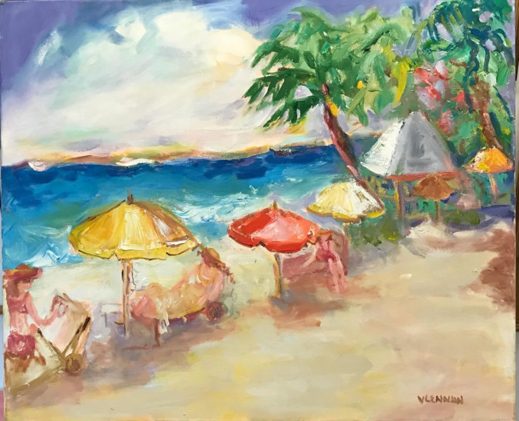 "Red Beach Umbrella <br /> 36"" x 30""  <br /> Mixed Media on Canvas, Gallery Wrapped <br /> $1,800 <br /> <a href=""/contact-purchase/?paintid=Red Beach Umbrella"">Purchase</a>"