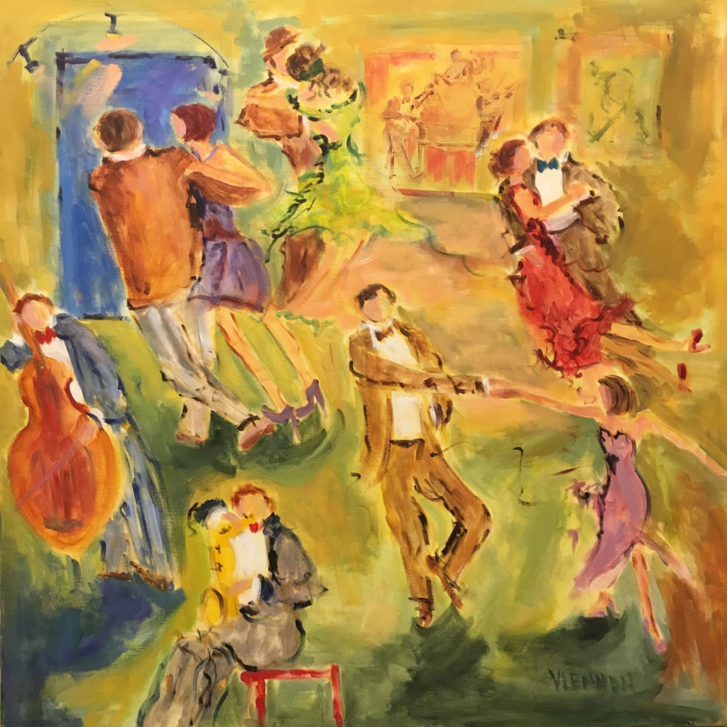 "Red Door Dance Club <br /> 40""x 40""  <br /> Mixed Media on Canvas, Gallery Wrapped <br /> $2,600 <br /> <a href=""/contact-purchase/?paintid=Red Door Dance Club"">Purchase</a>"