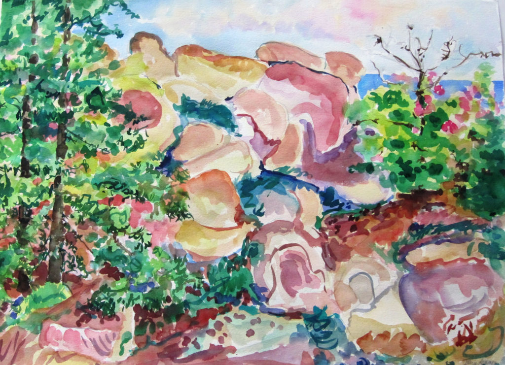 "Rocky Island <br /> 30"" x 22""  <br /> Watercolor <br /> $495 <br /> <a href=""/contact-purchase/?paintid=Rocky Island"">Purchase</a>"