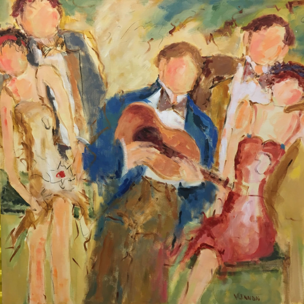 "Sunday Serenade <br /> 42""x 42""  <br /> Mixed Media on Canvas, Gallery Wrapped <br /> $2,700 <br /> <a href=""/contact-purchase/?paintid=Sunday Serenade"">Purchase</a>"