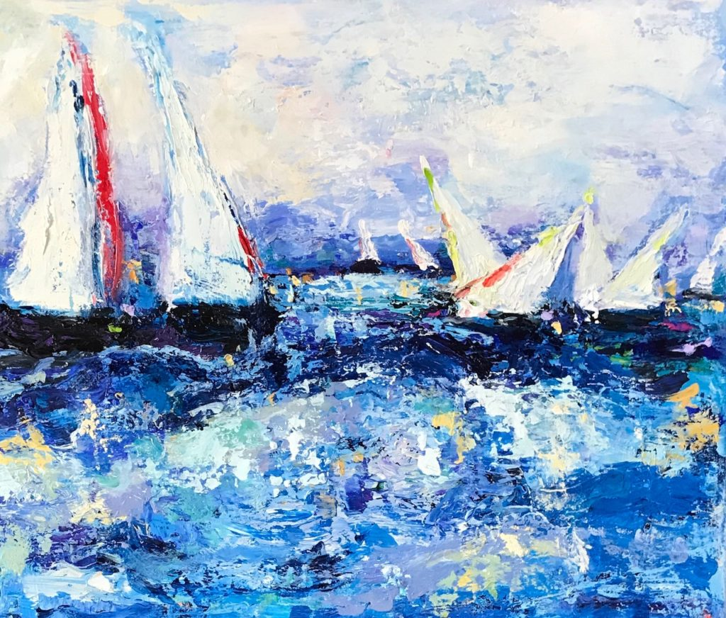 "Racing in the Wind<br /> 18"" x 24""  <br /> Oil on Canvas, Gallery Wrapped <br /> $1100 <br /> <a"