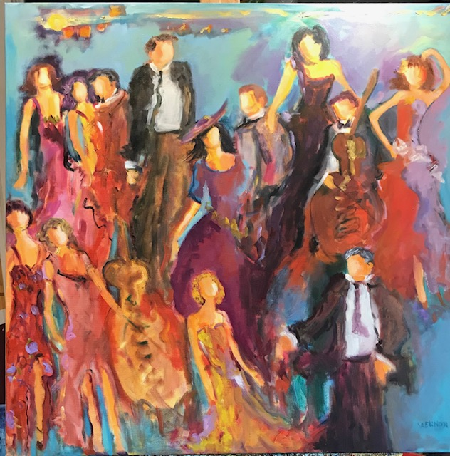 "First Dance <br /> 36"" x 36""  <br /> Mixed Media on Canvas, Gallery Wrapped<br /> $2,400 <br /> <a href=""/contact-purchase/?painting=First Dance Fun"">Purchase</a>"
