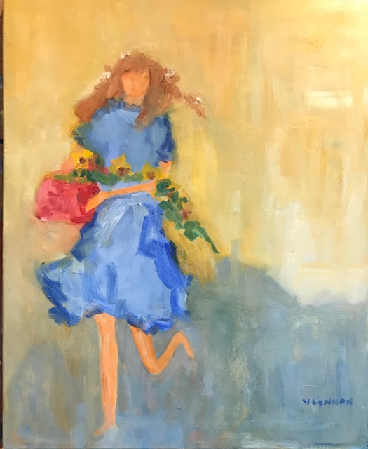 "On Her Way Summer Day <br /> 36"" x 12""  <br /> Oil on Canvas, Gallery Wrapped<br /> $1,100 <br /> <a href=""/contact-purchase/?paintid=On Her Way Summer Day"">Purchase</a>"
