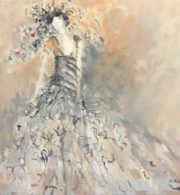 """Lady Love <br /> 20"""" x 20""""  <br /> Mixed Media on Canvas, SOLD"""