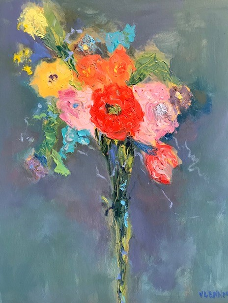 "Bouquet <br /> 20"" x 16""  <br /> Mixed Media on Canvas, Gallery Wrapped<br /> $1,800 <br /> <a href=""/contact-purchase/?paintid=Bouquet"">Purchase</a>"